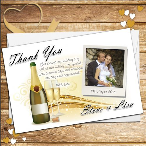 10 Personalised Wedding Day Champagne Thank you PHOTO cards N177